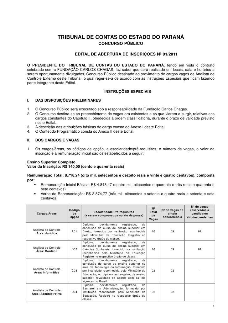 Edital Concurso Tribunal de Contas do Paraná