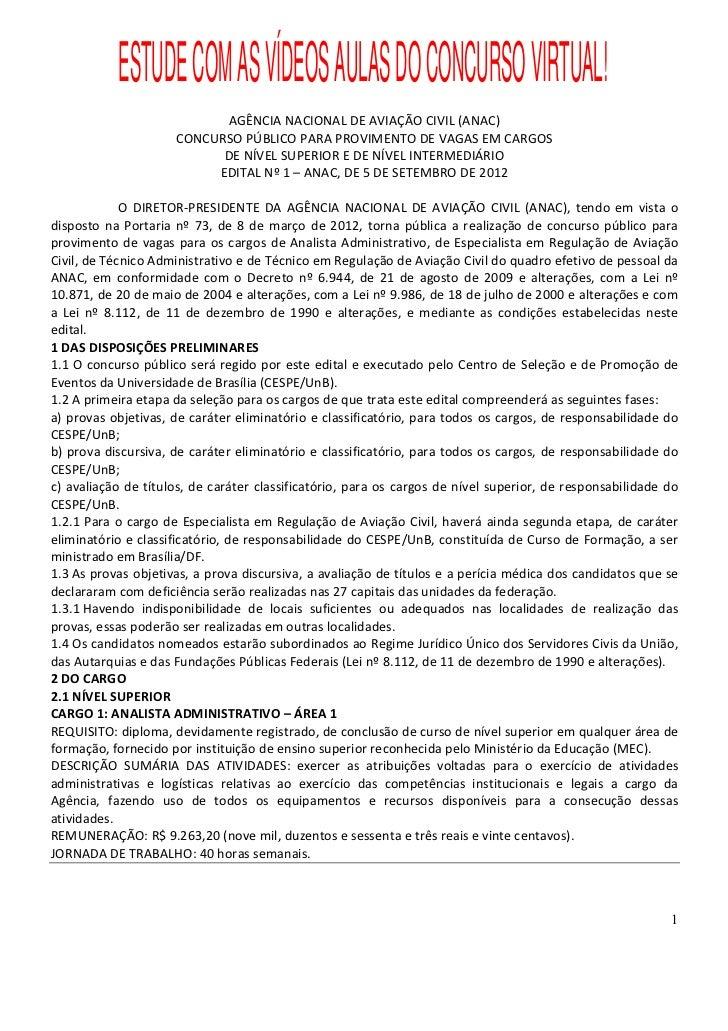 Edital Concurso ANAC 2012