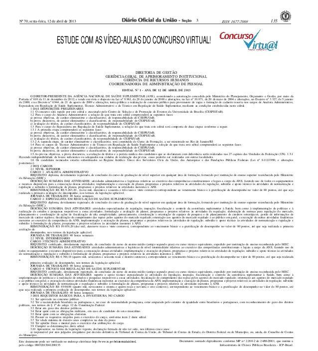 Edital concurso ANS 2013