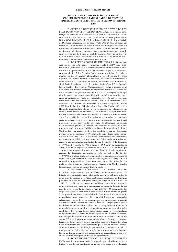 BANCO CENTRAL DO BRASIL        DEPARTAMENTO DE GESTÃO DE PESSOAS    CONCURSO PÚBLICO PARA O CARGO DE TÉCNICO  EDITAL BACEN...