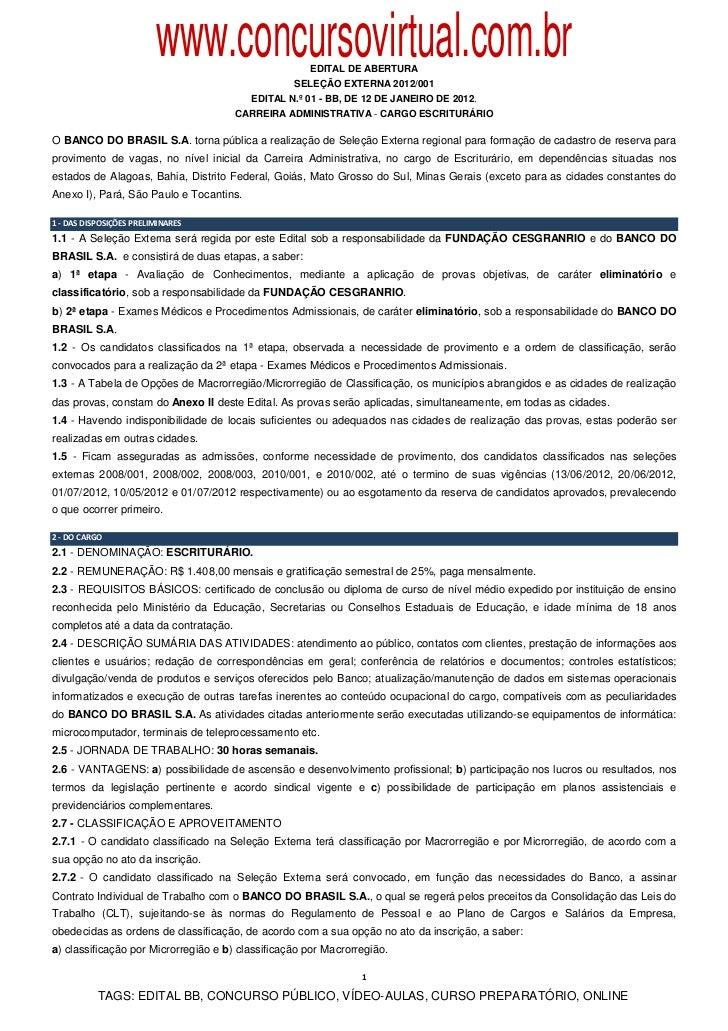 www.concursovirtual.com.br EDITAL DE ABERTURA                                                  SELEÇÃO EXTERNA 2012/001   ...