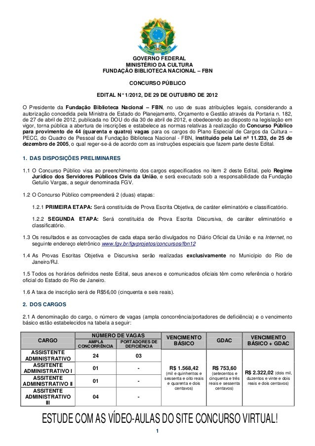 Edital Concurso Biblioteca Nacional