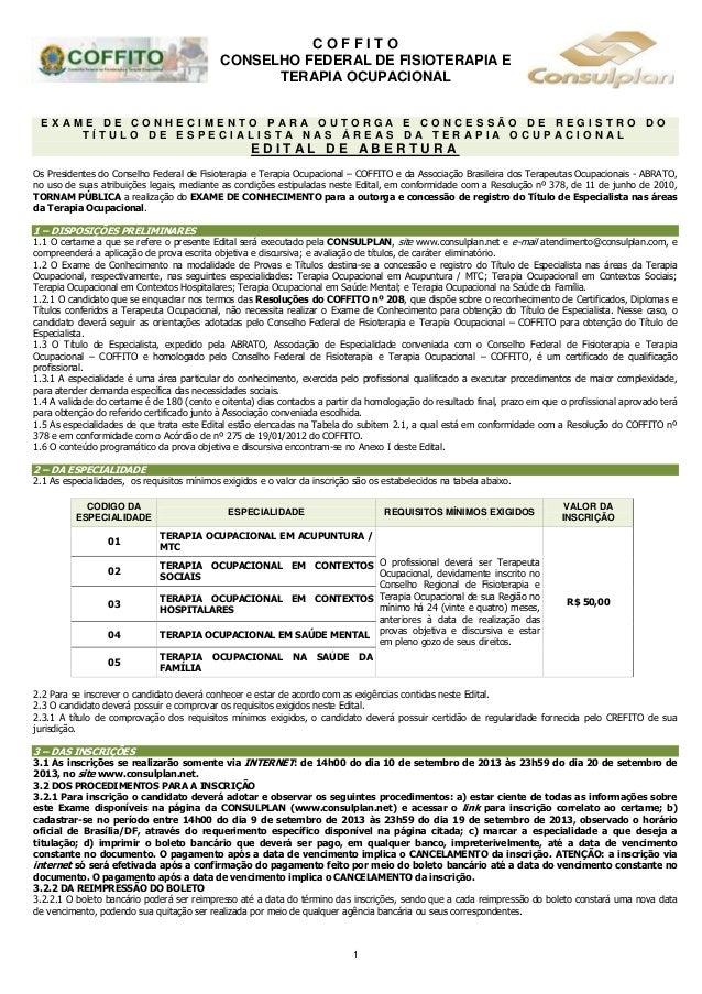 Prova de especialidades - Edital COFITTO - ABRATO