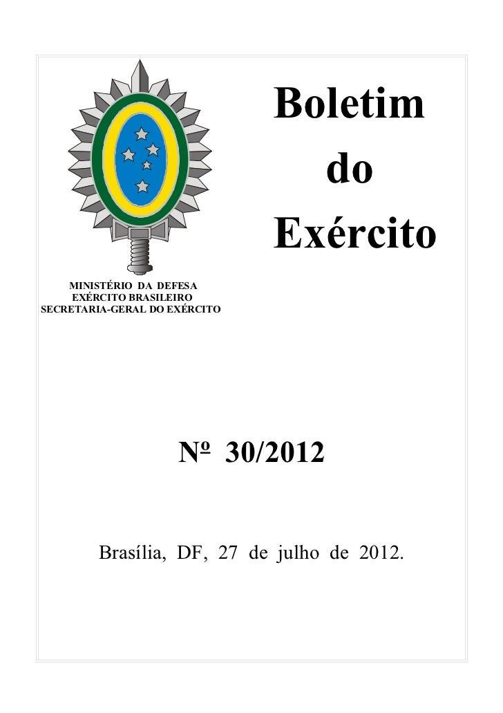 Boletim                                 do                               Exército    MINISTÉRIO DA DEFESA     EXÉRCITO BRA...