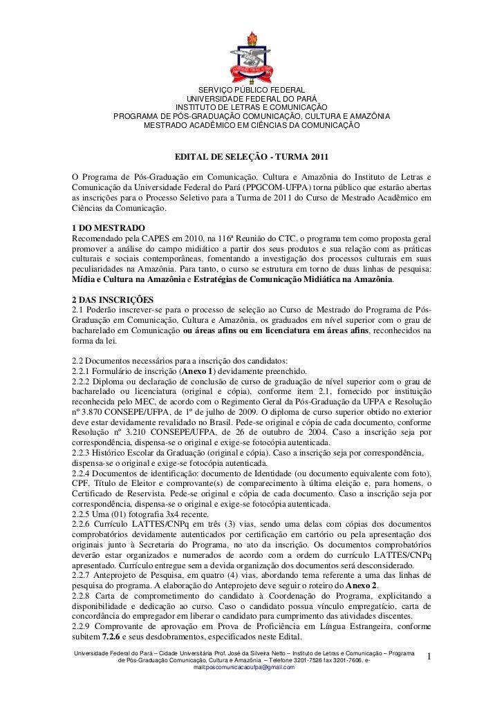SERVIÇO PÚBLICO FEDERAL                              UNIVERSIDADE FEDERAL DO PARÁ                           INSTITUTO DE L...