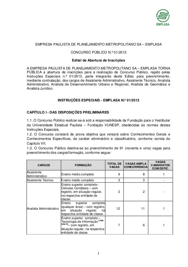 EMPRESA PAULISTA DE PLANEJAMENTO METROPOLITANO SA – EMPLASA CONCURSO PÚBLICO N.º 01/2013 Edital de Abertura de Inscrições ...