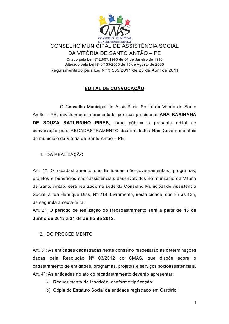 CONSELHO MUNICIPAL DE ASSISTÊNCIA SOCIAL             DA VITÓRIA DE SANTO ANTÃO – PE               Criado pela Lei Nº 2.607...