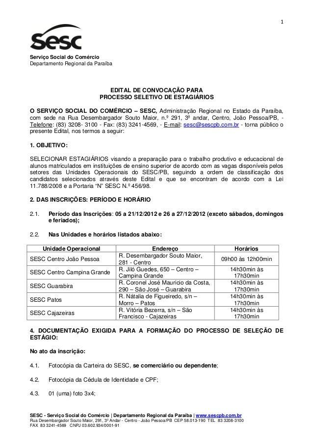 1Serviço Social do ComércioDepartamento Regional da Paraíba                                    EDITAL DE CONVOCAÇÃO PARA  ...