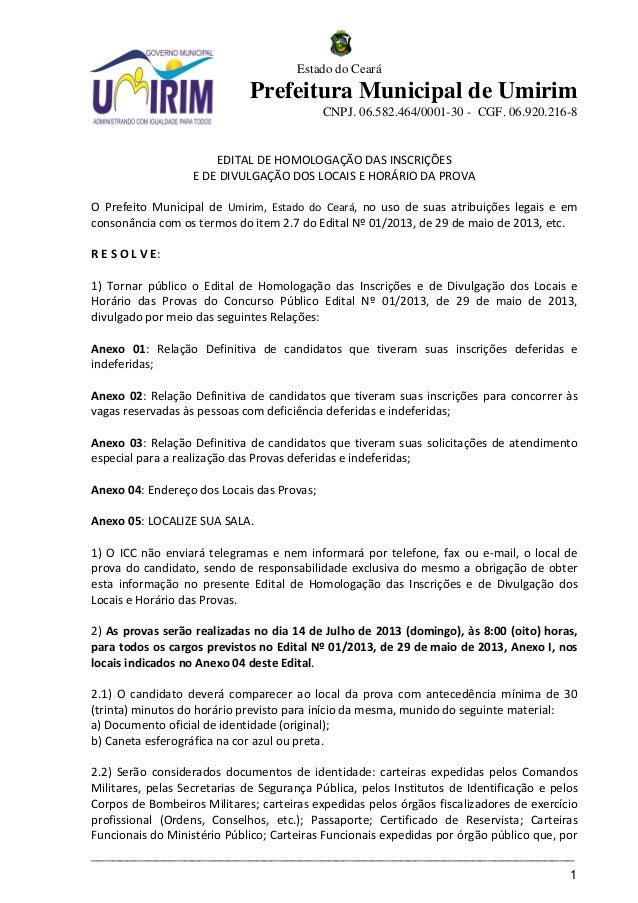 CONCURSO PÚBLICO UMIRIM - Edital de homologação das inscrições