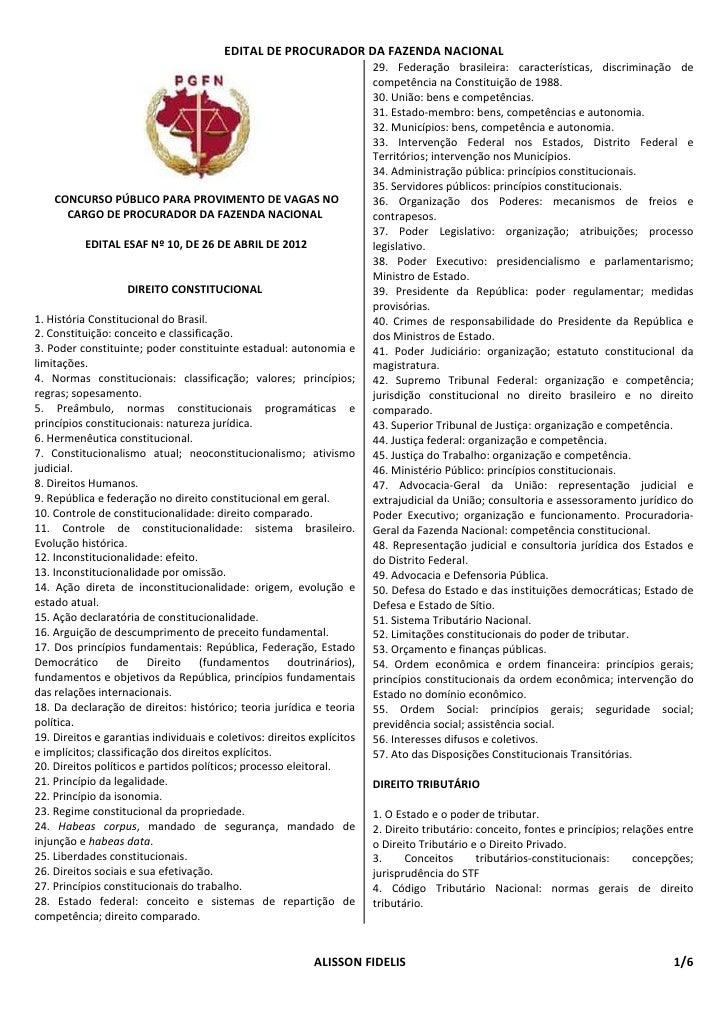 EDITAL DE PROCURADOR DA FAZENDA NACIONAL                                                                        29. Federa...