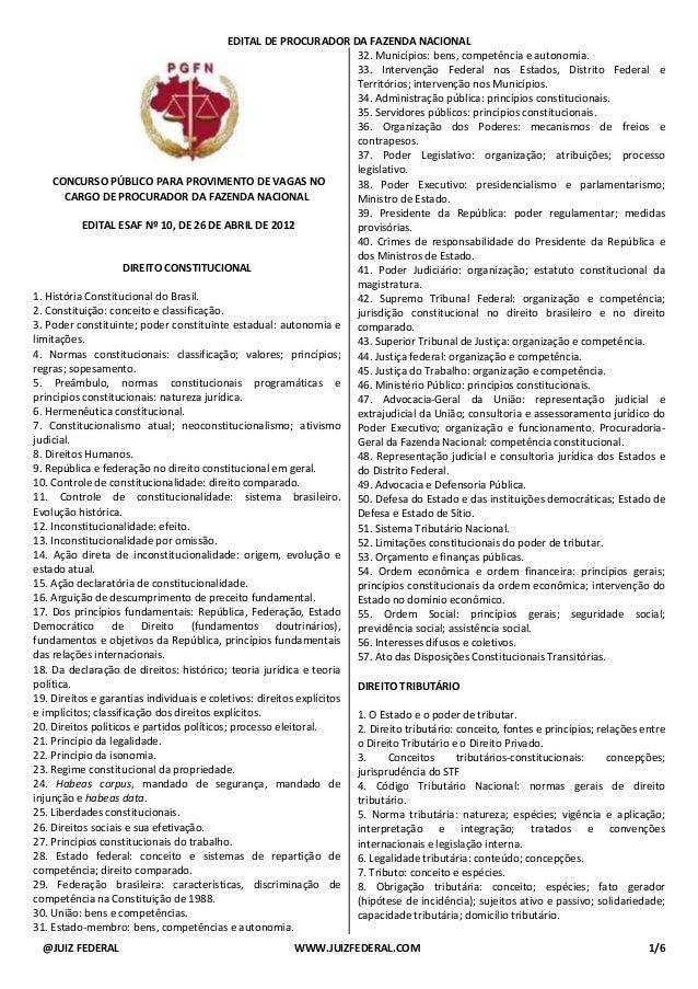 EDITAL DE PROCURADOR DA FAZENDA NACIONAL @JUIZ FEDERAL WWW.JUIZFEDERAL.COM 1/6 CONCURSO PÚBLICO PARA PROVIMENTO DE VAGAS N...