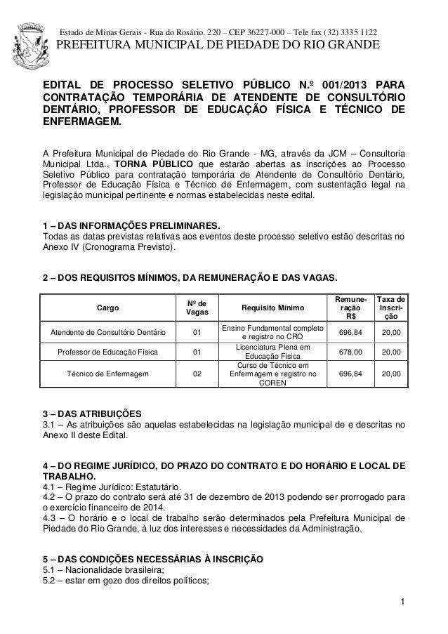 Estado de Minas Gerais - Rua do Rosário, 220 – CEP 36227-000 – Tele fax (32) 3335 1122 PREFEITURA MUNICIPAL DE PIEDADE DO ...