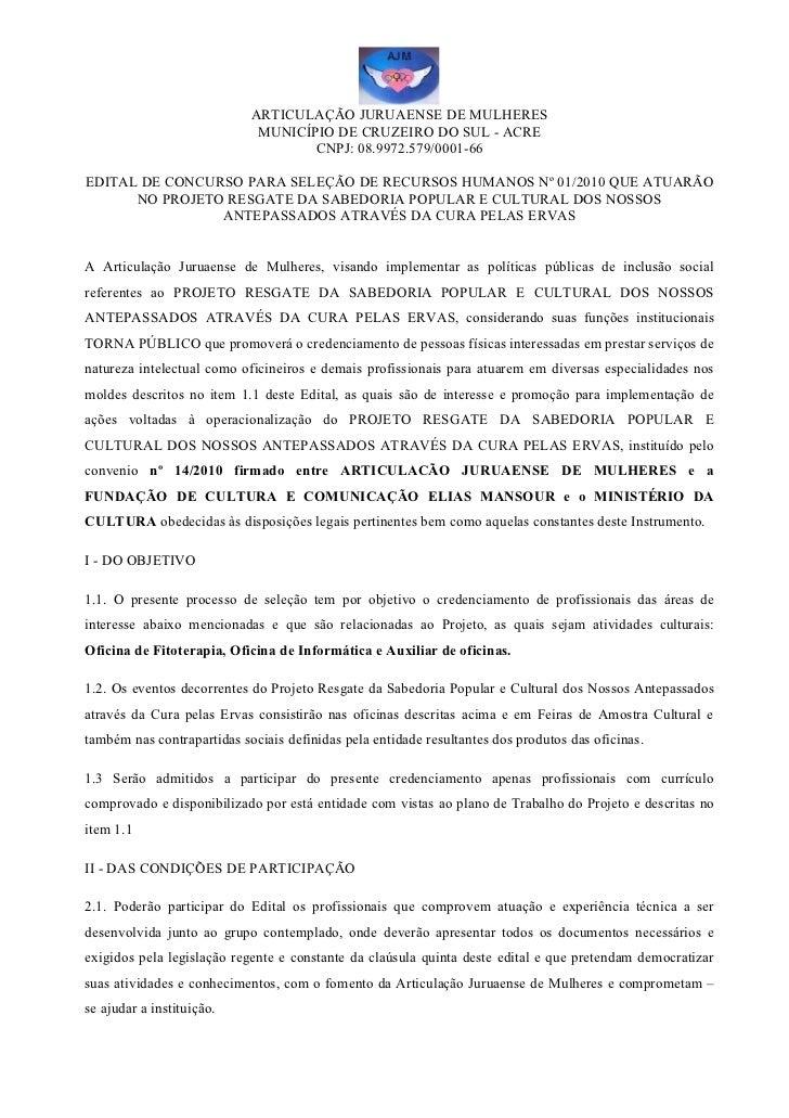 ARTICULAÇÃO JURUAENSE DE MULHERES                             MUNICÍPIO DE CRUZEIRO DO SUL - ACRE                         ...