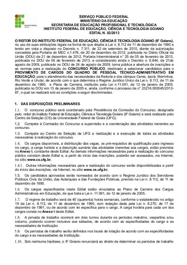 EDITAL INSTITUTO FEDERAL DE EDUCAÇÃO, CIÊNCIA E TECNOLOGIA GOIANO