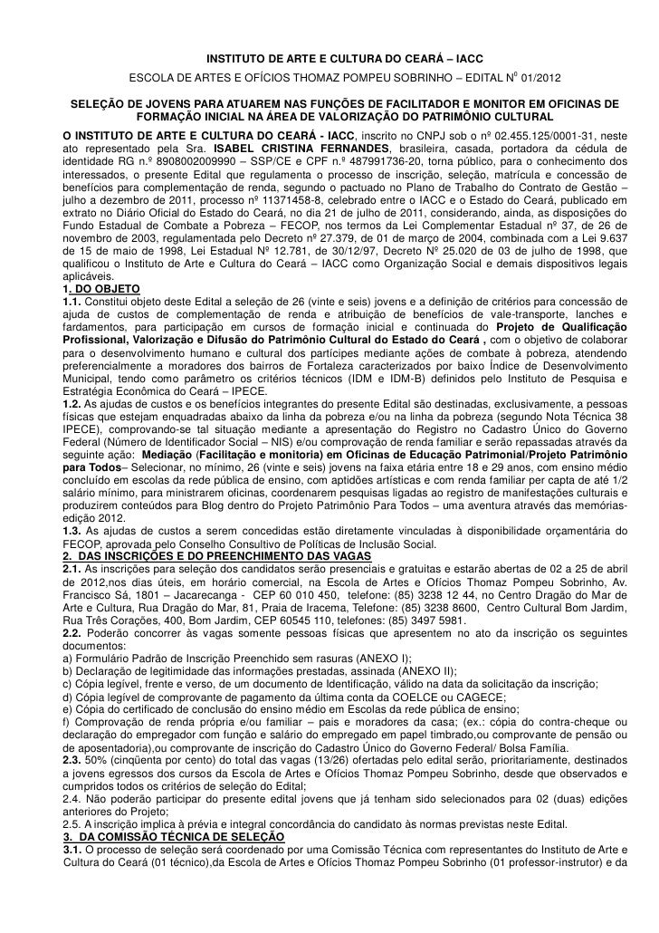 INSTITUTO DE ARTE E CULTURA DO CEARÁ – IACC                                                                               ...