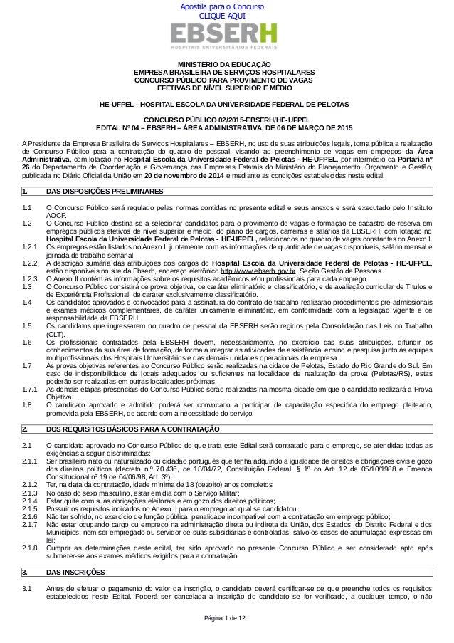 MINISTÉRIO DA EDUCAÇÃO EMPRESA BRASILEIRA DE SERVIÇOS HOSPITALARES CONCURSO PÚBLICO PARA PROVIMENTO DE VAGAS EFETIVAS DE N...