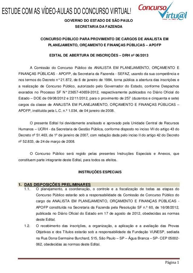 Edital concurso Secretaria da Fazenda de SP - APOFP