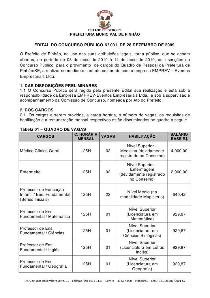 EDITAL DO CONCURSO PÚBLICO Nº 001, DE 28 DEZEMBRO DE 2009.