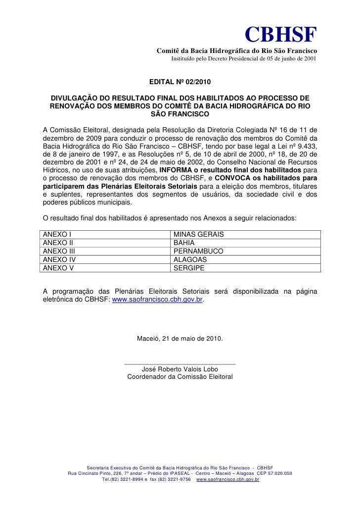 Edital habilitacao final 2010 renovacao sao francisco