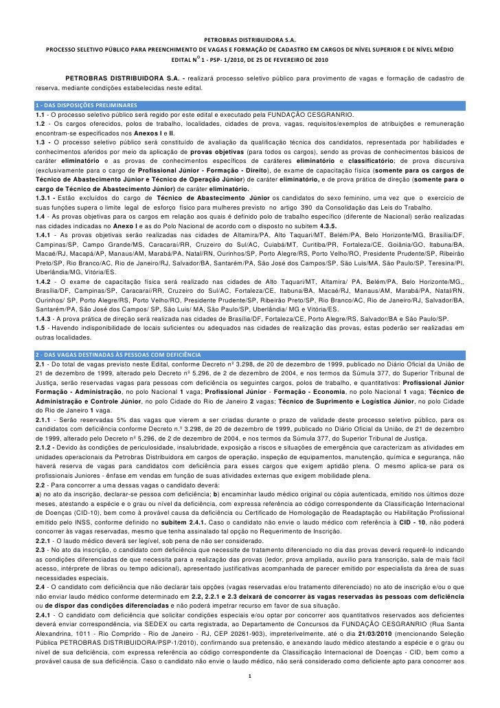 PETROBRASDISTRIBUIDORAS.A.     PROCESSOSELETIVOPÚBLICOPARAPREEN...