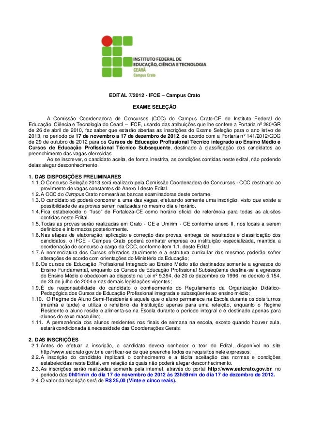 EDITAL 7/2012 - IFCE – Campus Crato                                              EXAME SELEÇÃO        A Comissão Coordenad...