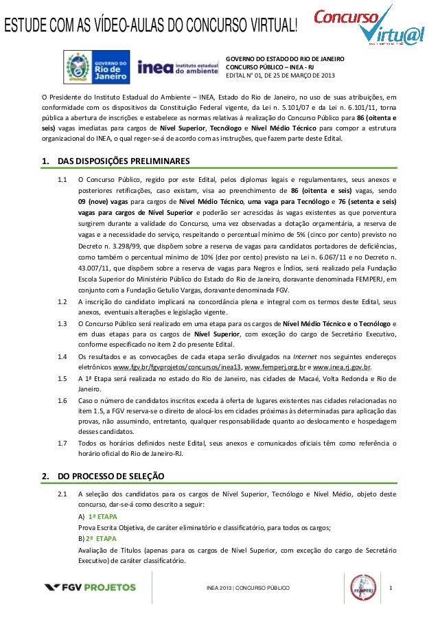 Edital concurso INEA 2013