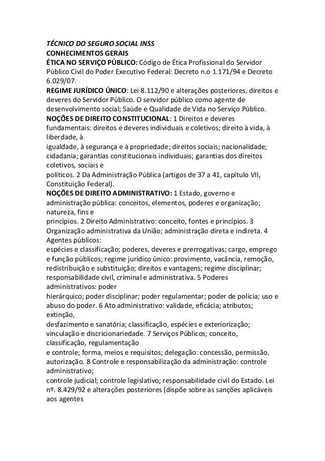 TÉCNICO DO SEGURO SOCIAL INSS CONHECIMENTOS GERAIS ÉTICA NO SERVIÇO PÚBLICO: Código de Ética Profissional do Servidor Públ...
