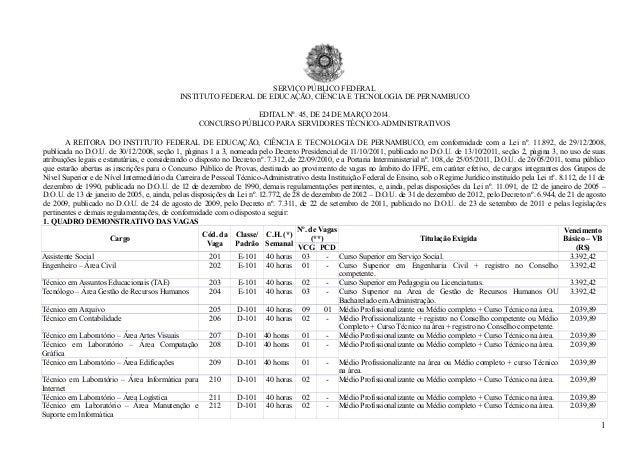 SERVIÇO PÚBLICO FEDERAL INSTITUTO FEDERAL DE EDUCAÇÃO, CIÊNCIA E TECNOLOGIA DE PERNAMBUCO EDITAL Nº. 45, DE 24 DE MARÇO 20...