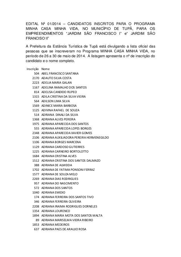 EDITAL Nº 01/2014 – CANDIDATOS INSCRITOS PARA O PROGRAMA MINHA CASA MINHA VIDA, NO MUNICÍPIO DE TUPÃ, PARA OS EMPREENDIMEN...
