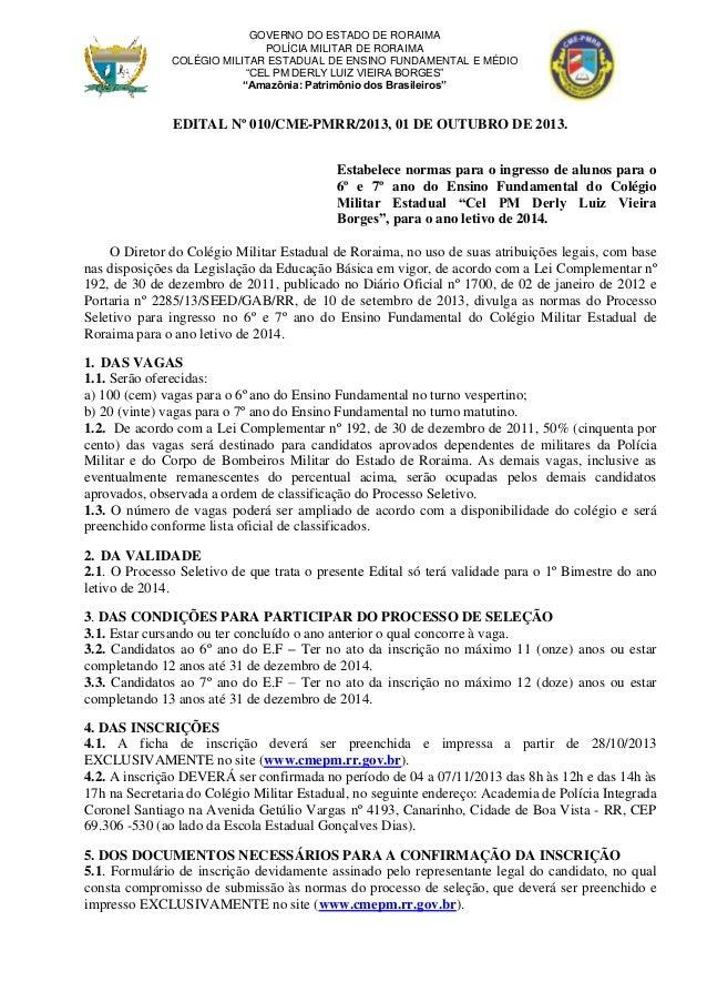 Edital nº 010   cme-pmrr - seletivo 2013 on line