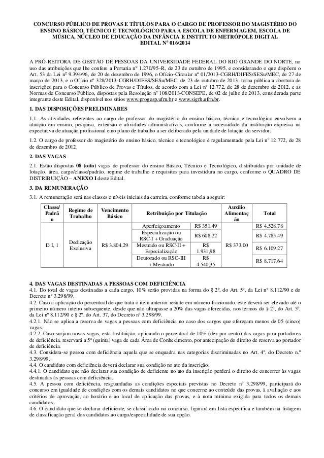 CONCURSO PÚBLICO DE PROVAS E TÍTULOS PARA O CARGO DE PROFESSOR DO MAGISTÉRIO DO ENSINO BÁSICO, TÉCNICO E TECNOLÓGICO PARA ...