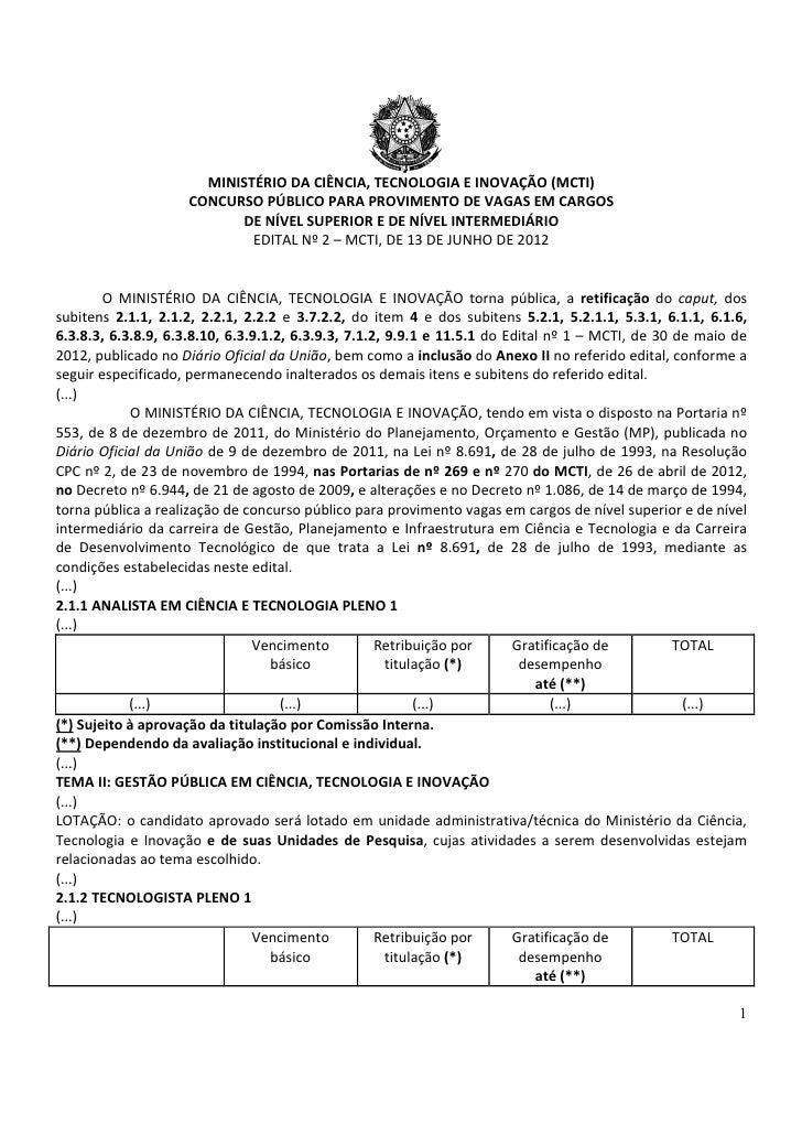 MINISTÉRIO DA CIÊNCIA, TECNOLOGIA E INOVAÇÃO (MCTI)                    CONCURSO PÚBLICO PARA PROVIMENTO DE VAGAS EM CARGOS...