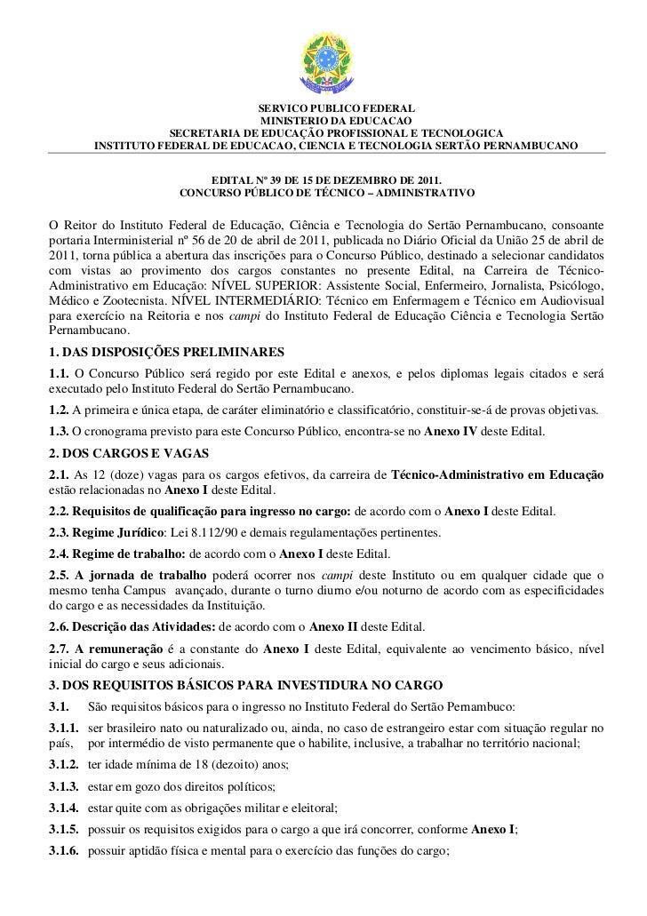SERVICO PUBLICO FEDERAL                                   MINISTERIO DA EDUCACAO                     SECRETARIA DE EDUCAÇÃ...