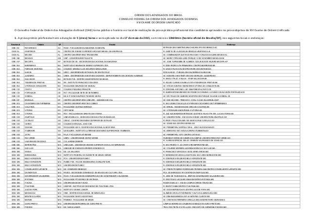 ORDEM DOS ADVOGADOS DO BRASIL CONSELHO FEDERAL DA ORDEM DOS ADVOGADOS DO BRASIL XVI EXAME DE ORDEM UNIFICADO O Conselho Fe...
