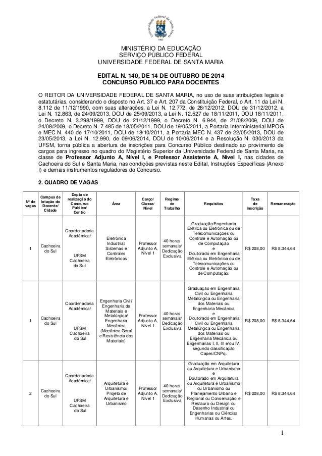 Concurso para docentes ufsm for Concurso docentes