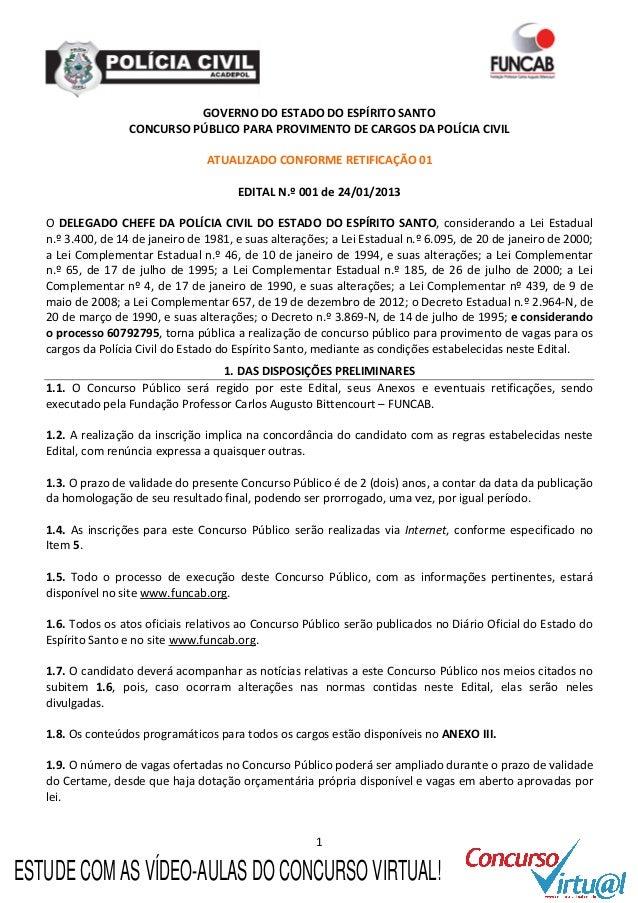 Edital concurso Polícia Civil do Espírito Santo (PC-ES)