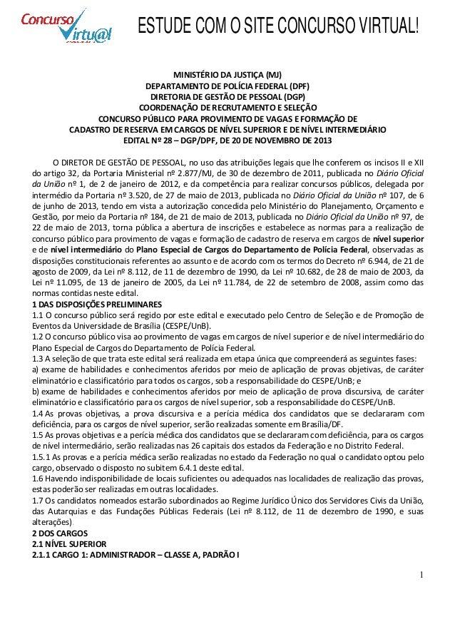 Edital concurso Polícia Federal 2013 agente administrativo e superior