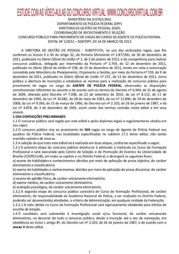 Edital concurso Agente PF 2012