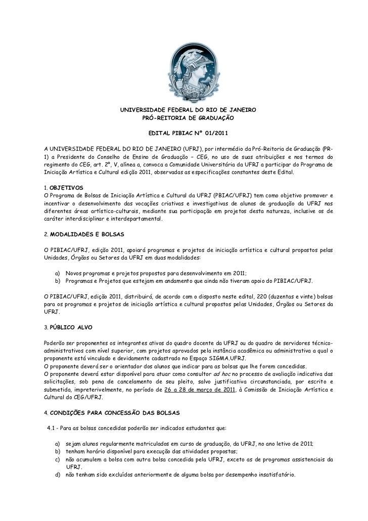 UNIVERSIDADE FEDERAL DO RIO DE JANEIRO                                   PRÓ-REITORIA DE GRADUAÇÃO                        ...