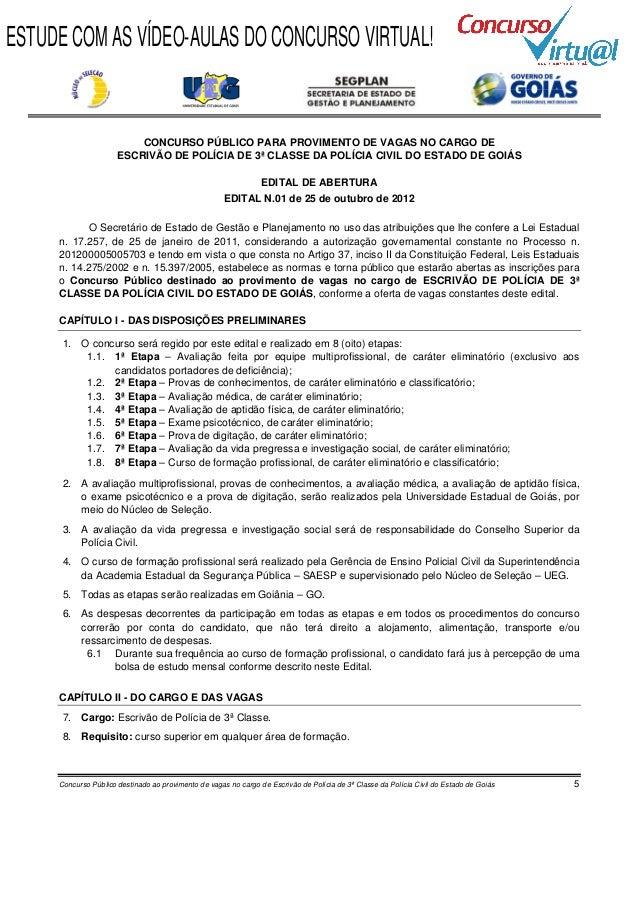 Edital concurso Polícia Civil de Goiás - Escrivão