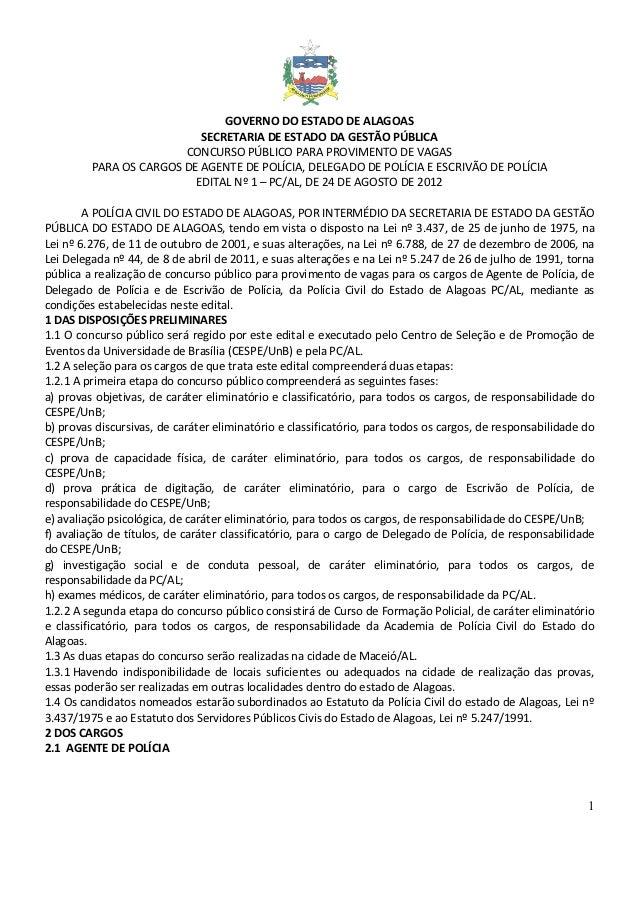 Edital do concurso da Polícia Civil de Alagoas