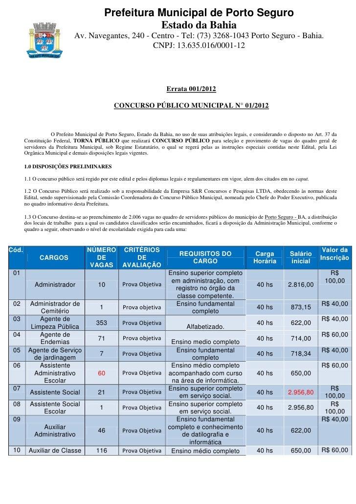 Edital Prefeitura de Porto Seguro Concurso 2012