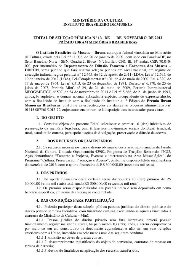 Edital Premio Memorias Brasileiras