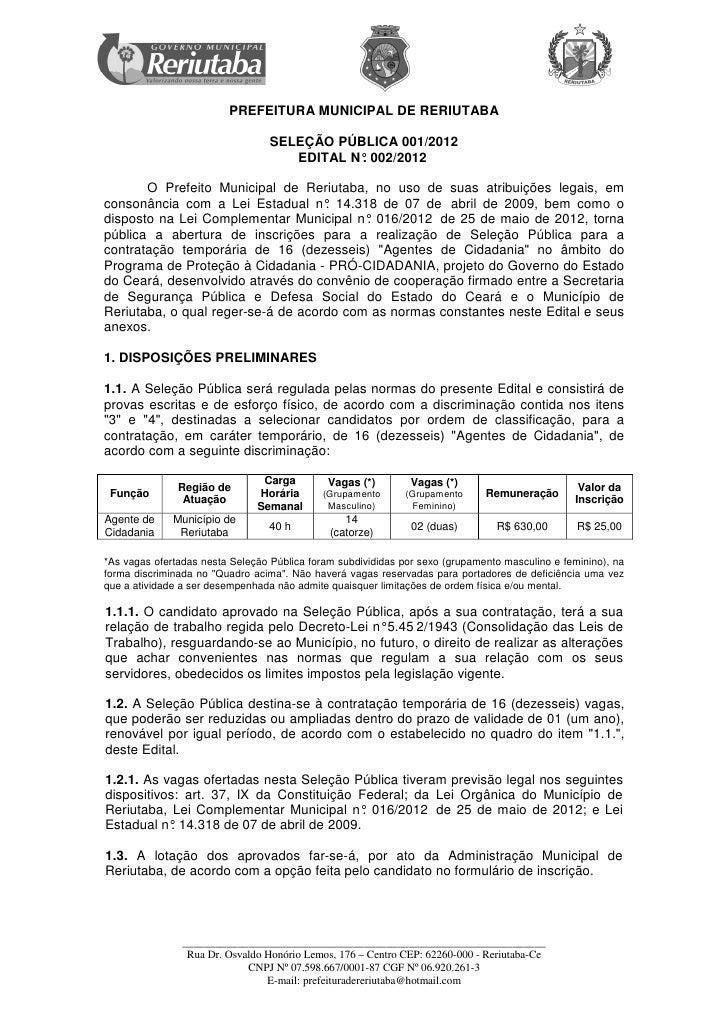 PREFEITURA MUNICIPAL DE RERIUTABA                                  SELEÇÃO PÚBLICA 001/2012                               ...
