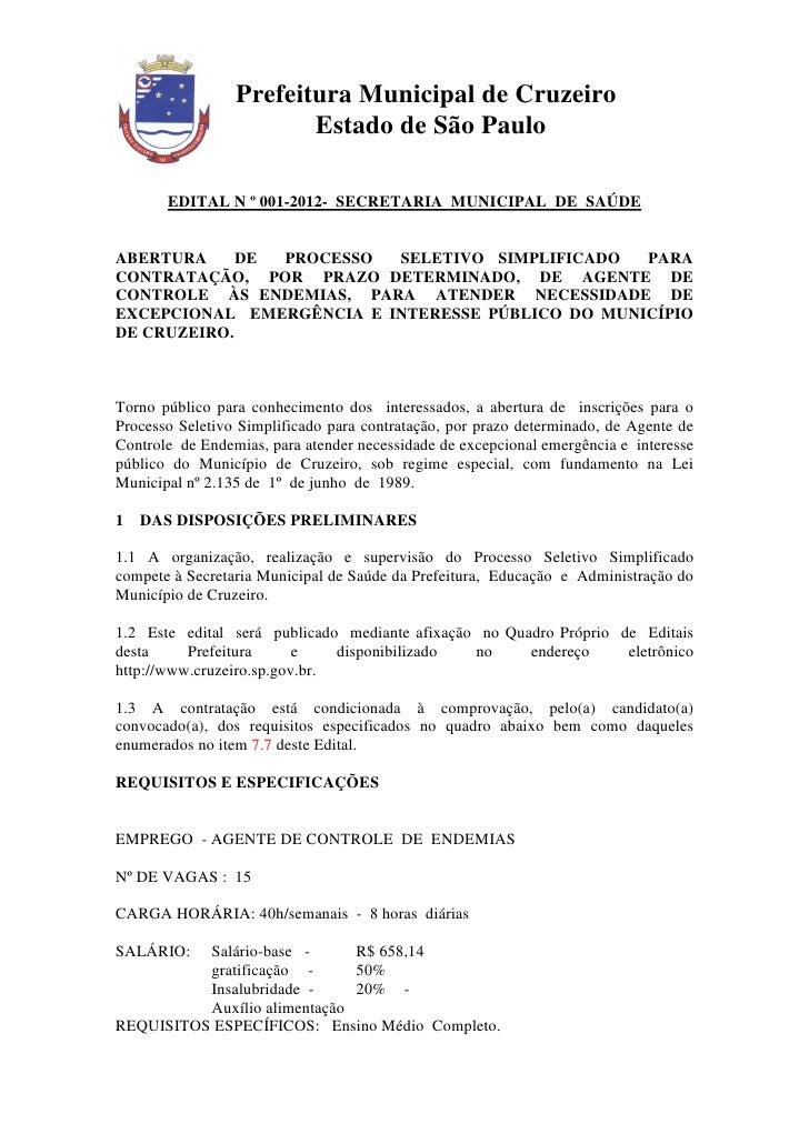 Prefeitura Municipal de Cruzeiro                        Estado de São Paulo       EDITAL N º 001-2012- SECRETARIA MUNICIPA...