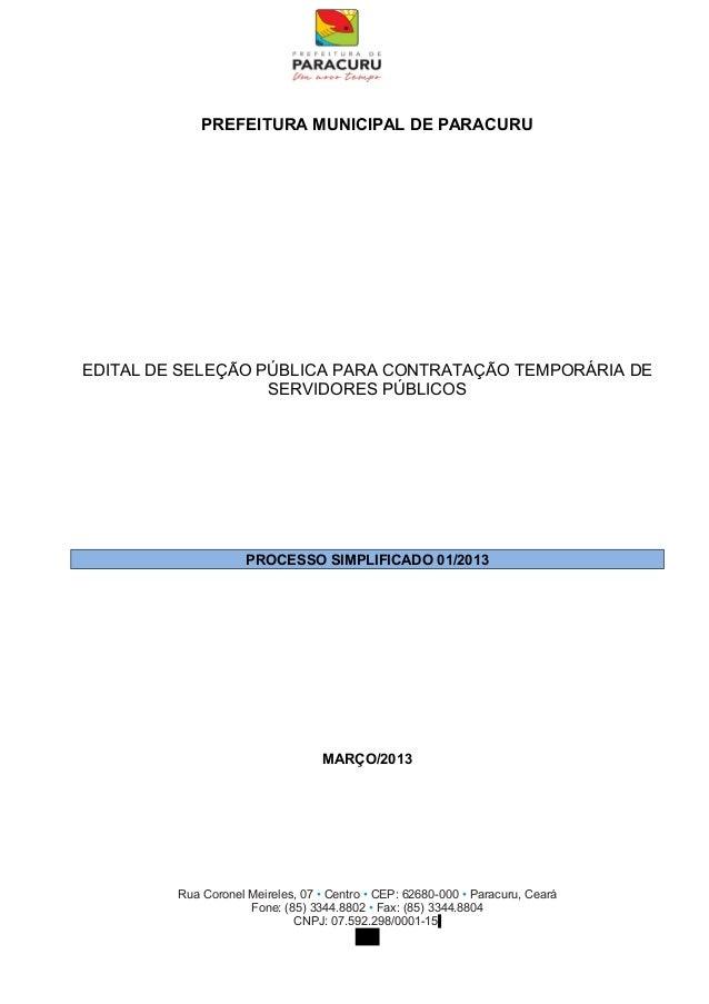 PREFEITURA MUNICIPAL DE PARACURUEDITAL DE SELEÇÃO PÚBLICA PARA CONTRATAÇÃO TEMPORÁRIA DE                   SERVIDORES PÚBL...