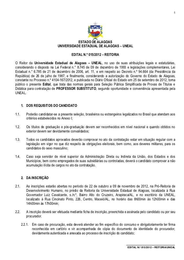 1                                           ESTADO DE ALAGOAS                                UNIVERSIDADE ESTADUAL DE ALAG...