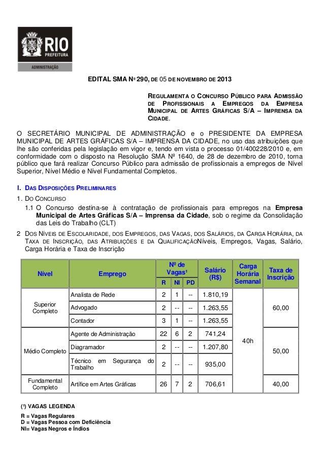 EDITAL SMA Nº 290, DE 05 DE NOVEMBRO DE 2013 REGULAMENTA O CONCURSO PÚBLICO PARA ADMISSÃO DE PROFISSIONAIS A EMPREGOS DA E...