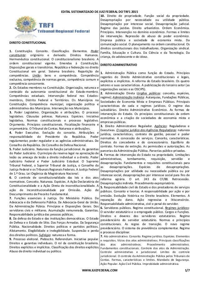 EDITAL SISTEMATIZADO DE DIREITO CONSTITUCIONAL 1. Constituição. Conceito. Classificação. Elementos. constituinte: originár...