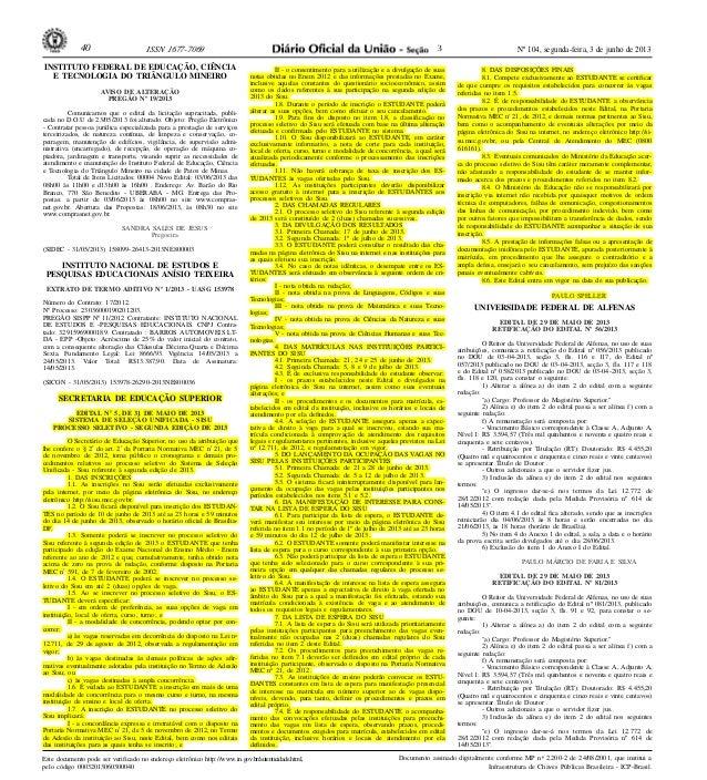 Nº 104, segunda-feira, 3 de junho de 201340 ISSN 1677-7069 Este documento pode ser verificado no endereço eletrônico http:...